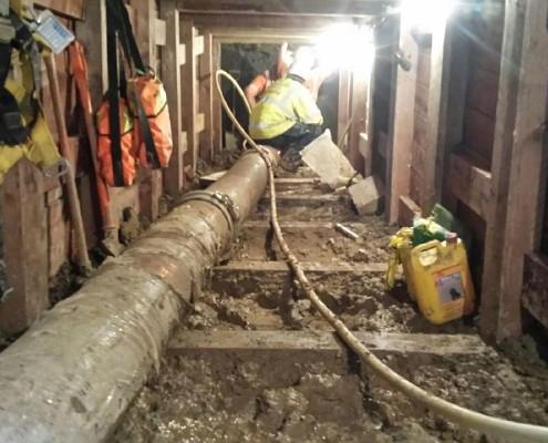 Saugbagger Tunnelabsaugung